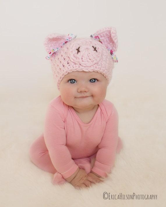 Baby hat pig hat newborn hat newborn girl hat crochet pig