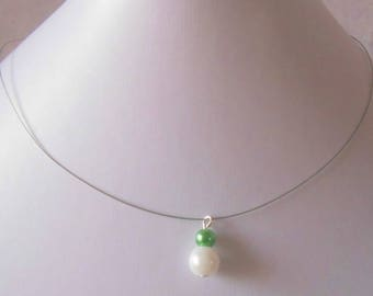 Duo beads green and white wedding necklace