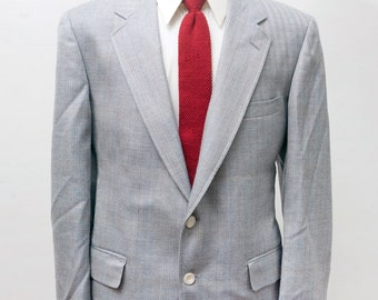 Men's Blazer / Vintage Grey Herringbone Jacket by Cricketeer / Size 42 Large