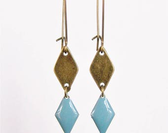 Brass diamond shape and chambray blue enameled diamond earrings