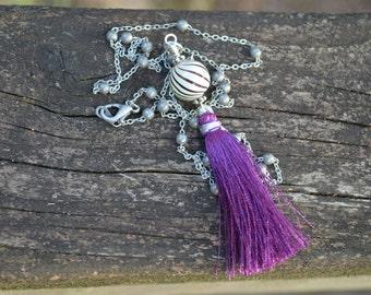 Purple Tassel Necklace Silk Tassel with Blown Glass Bead
