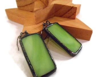 Green Earrings Stained Glass Earrings Green Glass Earrings Glass Metal Earrings Handmade Earrings Lime Green Earrings Dangle Drop Earrings