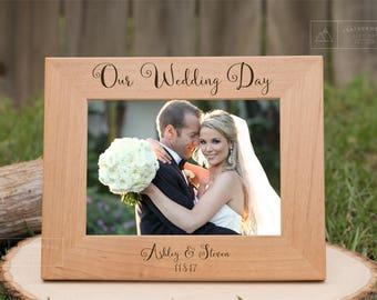 Newlywed Gifts, Personalized Wedding Gift, Personalized Picture Frame, Wooden Wedding Frame, Gift for Bride, Wedding Gift Ideas, Groom Gift