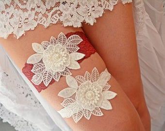Burgundy Garter, Wedding Garter Red, Wedding Garter Set, Wedding Clothing, Vine Garter Set, Lace Garter Maroon, Garter Burgundy, Red Garters