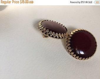 Birthday Sale Vintage Round Plum Lucite Clip On Earrings