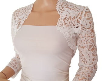 Womens Ivory Lace Bridal Bolero 3/4 or Short Sleeved in sizes UK 8 to 18