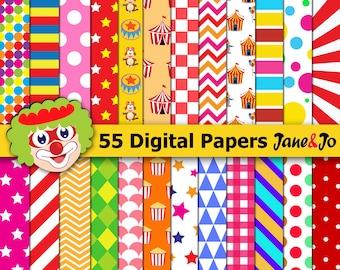 55 circus digital paper,circus background,circus paper pack,circus digital papers,carnival scrapbook paper,Clown,Circus animals,circus party