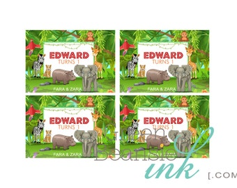 JUNGLE WILD ANIMAL Kids Birthday Party Printable Gift or Favor Tags