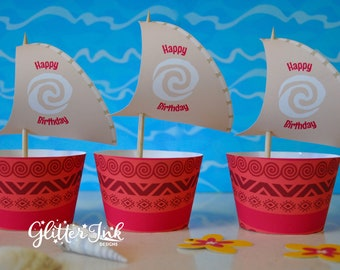 Moana cupcake topper sails and wrappers for birthday party - pdf printable file - outrigger boat with Polynesian tribal design