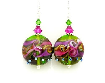 Hot Pink Purple Earrings, Lampwork Earrings, Glass Earrings, Glass Bead Earrings, Lampwork Jewelry, Bead Earrings, Colorful Earrings