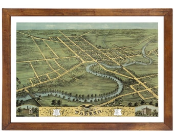 Warren, OH 1870 Bird's Eye View; 24x36 Print from a Vintage Lithograph