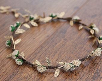 Boho Flower Crown : Cream Aster & Gold - WEDDINGS, FLOWERGIRLS, CHRISTMAS