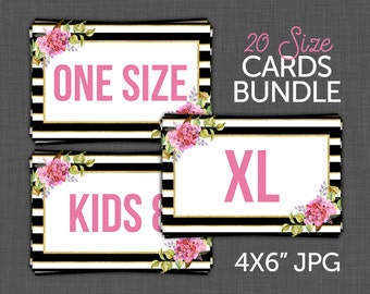 Marketing Kit - Stripes and Flowers - Size Cards, Size Signs, Size Tags - - INSTANT DOWNLOAD
