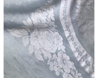 Vintage CC41 Light Blue/Green Satin Damask Tablecloth, Floral