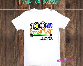 100 Days Smarter 100th day of school celebration T-Shirt Shirt One Piece Bodysuit Personalized Name Custom Girl Pink Hearts Arrow Smarter