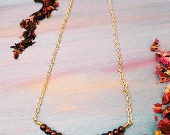 Garnet Minimalist dainty  Necklace - January Birthstone Necklace