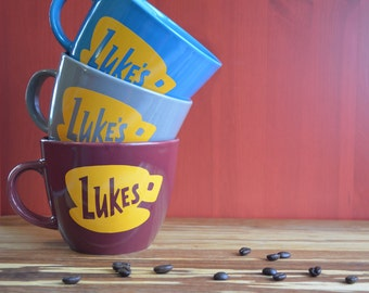 Gilmore Girl's Mug 16 oz - Luke's Diner Mug - Made to Order W/ Vinyl Logo. Gilmore Girls Gift. Luke's Coffee Cup. Luke's Coffee Mug. Limited