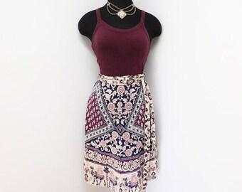 Vintage 70s Ethnic India Cotton Batik Wrap Skirt Hippie Camel Border Geometric Print Bohemian Summer Festival Coachella Style S M