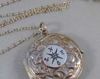 Sterling Compass,Locket,Silver Locket,Sterling Silver Locket,Sterling Silver,Compass,Wedding Jewelry. Handmade jewelry by valleygirldesigns.