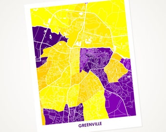 Greenville NC Map Print.  Choose the Colors and Size.  Perfect art for your East Carolina University Pirate. ECU Gift.  NC Local Poster.
