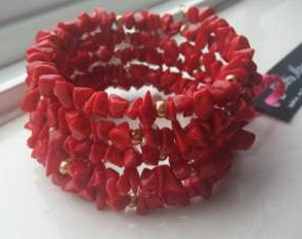 Bold Red Howlite Bead Chip Wrap Bracelet