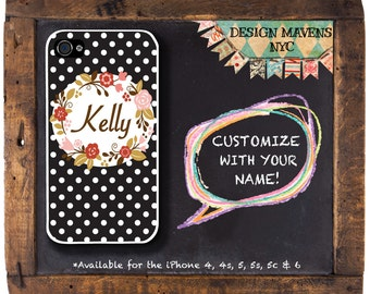 Cute Polka Dot iPhone Case, Floral iPhone, Personalized iPhone Case, Fits iPhone 4, iPhone 5, iPhone 5s, iPhone 5c, iPhone 6, Phone Cover