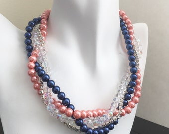 Navy and Coral Necklace Bridal Necklace Multistrand Pearl Necklace Statement Necklace Navy and Coral Jewelry Bridesmaid Gift