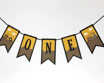 1st Birthday Banner - First Birthday Banner - High Chair Banner - Construction Birthday Banner - Stampin' Up! - Toddler Birthday Banner