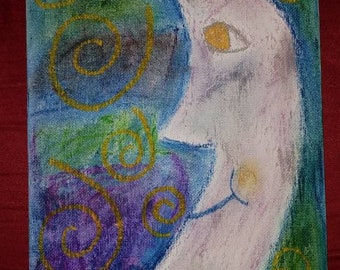 8x10 oil pastel on canvas board moon original painting