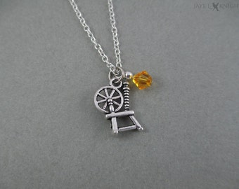 Rumplestiltskin Sleeping Beauty Spinning Wheel Charm Necklace - Mr. Gold - Once Upon a Time - Silver Charm