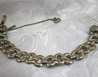 Monet Vintage Silver Bracelet, Large Link Bracelet, Signed, 1970's