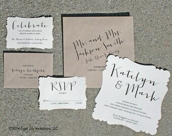 Rustic Calligraphy Wedding Invitation Set Sample - Scallop Edge Invitation Suite - Rustic Modern Invitation Set - Boho Wedding Invitaton