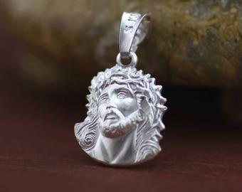 Jesus Christ Necklace, Jesus Necklace, Jesus Face Necklace, Sterling Silver Divine Face of Jesus, Face of Divine Mercy Charm