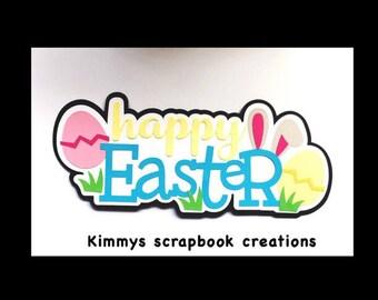 Happy easter Scrapbook Title Premade Paper Piecing