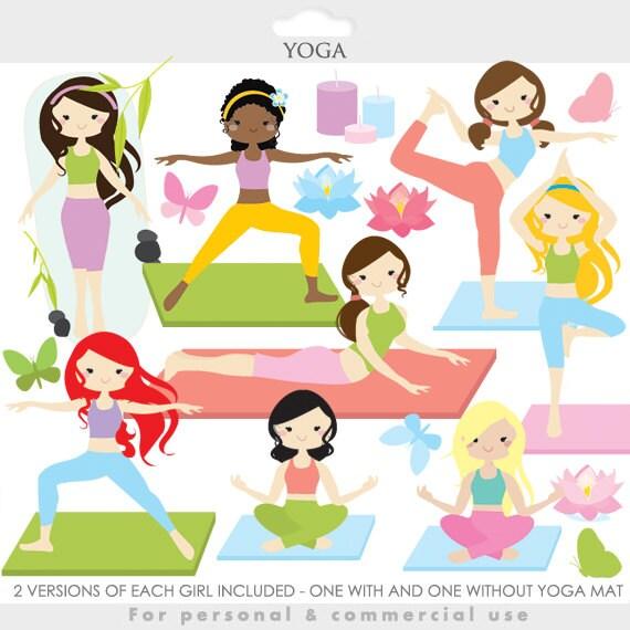 yoga clipart yoga clip art girl gals fitness meditation rh etsy com Clip Art Gym Girl Clip Art Workout Girl