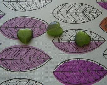 Olive Green 24mm Puffy Heart, Cat's-eye Fiber Optic beads, Lot of 3