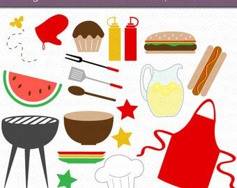 Summer BBQ Cook-Out Clipart Digital Art Set Instant Download Summer Clipart BBQ Clipart Cook Out Clipart