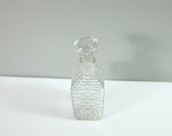 Antique 1920's Art Deco cut glass perfume bottle with stopper - Art Deco Perfume Bottle - Art Deco Bottle
