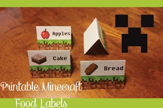Mine craft Inspired Printable Food Labels Digital File 20