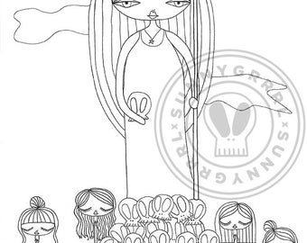 "PDF Colouring Page - ""Storyteller"""