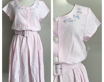 80s Deadstock Pink and White Seersucker Dress with Floral Embroidery and Back Cutouts