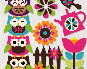 Spring clipart sale / retro spring garden clip art commercial use / owls, flowers, watering can clipart download