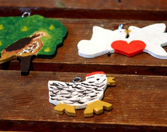 The Twelve Days of Christmas Wooden Ornament Set- 12 ornaments for Christmas tree, handmade The Twelve Days of Christmas, hand-painted 12