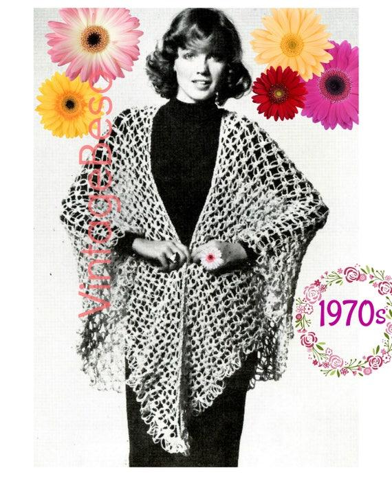 Easy Shawl Crochet Pattern 1970s Vintage Knot Stitch W Knot