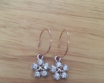 Rose Gold Earrings with flower dangle charms