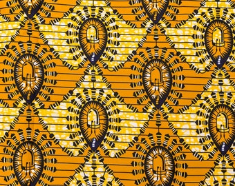 Authentic African Fabric Real Wax Orange Yellow Light Design rw715404
