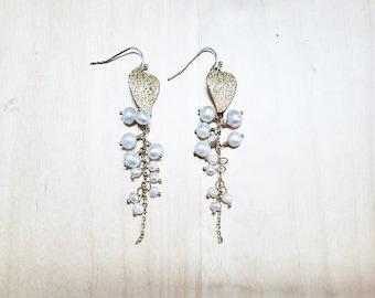 Fresh Water Pearl Gold Leaf Drop Earrings