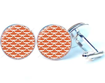 Glass - small boats cabochon cufflinks