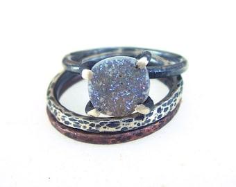 Druzy silver ring, sterling silver drusy stone prong ring, oxidized sterling silver ring, dainty stacking gemstone ring, minimal, US 7 size