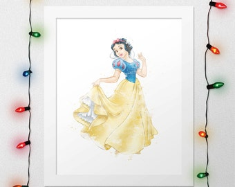 SNOW WHITE, Snow White Print, Princess Snow White, Snow White Watercolor, Princess Nursery, Disney Snow Watercolor, Wall Art, Digital Print